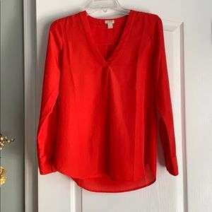 NWOT J Crew v neck drapey red blouse - Sz XS